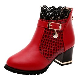 Discount red evening shoes - Heel Lace Evening Party Shoes Woman Feminine Charm Wedge Lace Fashion Ankle Boots Women Boots botas mujer Ankle for Wome