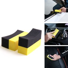 Car Waxing Pads Australia - Professional Auto U-Shape Tire Wax Polishing Compound ARC Edge Sponge Tire Brush car Cleaning Sponge DHL Free Shipping