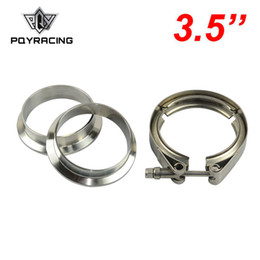 """V Clamps Australia - PQY - 3.5"""" V Band clamp flange Kit (Stainless Steel 304 Clamp+SUS304 Flange) For turbo exhaust downpipe PQY5286"""