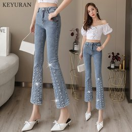 DiamonD Denim women jeans online shopping - Diamonds Beading Flare Jeans Fashion High Waist Vintage Elastic Slim Flare Denim Pants New Women Female Casual Trousers