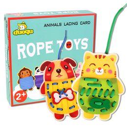 $enCountryForm.capitalKeyWord Australia - Children's early education Intellectual development toy animal wooden DIY threading version children's baby hand-eye coordination rope toy