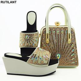 Discount italian women heels - New Arrival Rhinestoen African Women Wedding Pumps Italian Ladies Shoes and Bags To Match Set Fashion Ladies Sandals wit