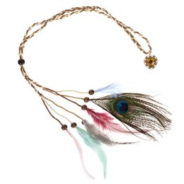 hippie bands NZ - Girls Popular Feather Headband Festival Hippie Hair Band Accessories for Women Boho Styling Colorful Peacock Headdress