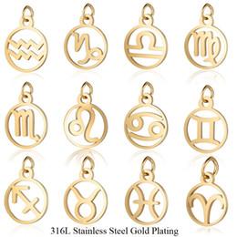 $enCountryForm.capitalKeyWord Australia - wholesale 12pcs lot 11*16mm Stainless Steel 12 Signs Zodiac Metal Charms for Women Jewelry Gold Color Zodiac Mini Charms Pendant