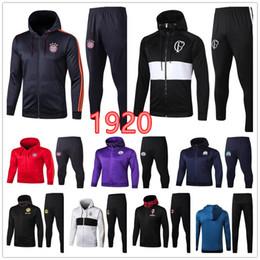 Wholesale soccer hoodies men online – oversize Hoodie soccer jacket Real Madrid Paris Long zip hooded jacket set football club MBAPPE SUSO POGBA MAHREZ jacket