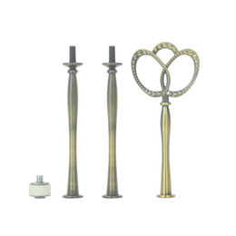cake stands metal NZ - Heavy Metal Golden Silver Bronze 3 tier Cake Stand Holder Fruit Plate Stand Fitting Hardware Rod