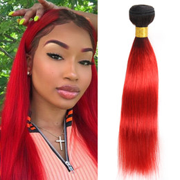 black red ombre hair weave 2019 - Dressmaker Ombre Straight Human Hair Bundles Indian Virgin Hair Two Tone T1b-hot red Black to Red Hair Bundles discount