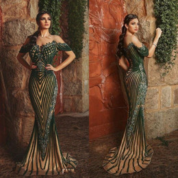 green fall dresses NZ - 2020 Champagne With Olive Green Prom Dresses Mermaid Evening Dress Sequins Applique Formal Party Gowns BC4114