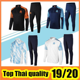 China 2019 20 Marseille tracksuit soccer jacket training suit 19 20 Marseille survêtement THAUVIN Football tracksuit jacket supplier men grey jacket suppliers
