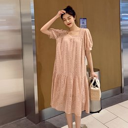 Wholesale maternity clothes collar resale online - Summer Loose Fashion Maternity Lace Dress Short Sleeve Square Collar Hollow Out Lace Clothes Sweet Pregnant Women Cotton Dress