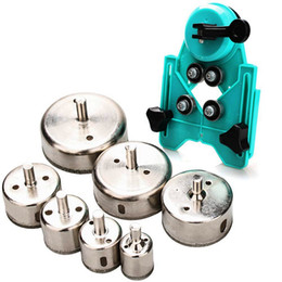 $enCountryForm.capitalKeyWord Australia - Freeshipping Hole Saw Set 7 Hole Diamond Drill Bit With Hole Saw Guide Clamp Coated Drill Bit Adjustable Centering Vacuum Clean