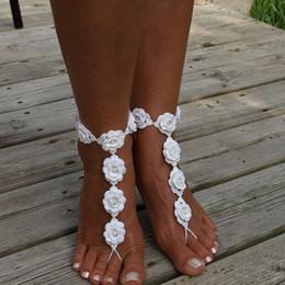 Sexy Decor Australia - Pair Sexy Bikini Barefoot Sandals Decor Bride Crochet Hook Yoga Toe Footwear Summer Handmade Ankle Chain Beach Hand Chain Pool Waist Wear