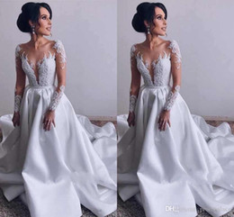 Pics Wedding Dresses Australia - Real Pic Luxury Lace Wedding Dresses Scoop Neck Illusion Long Sleeves Satin Sweep Train Bridal Gowns With Appliques Plus Size Wedding Gowns