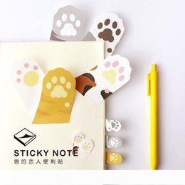 kawaii post notes UK - B Wholesale- 6 pcs Lot Meow Kawaii cat claw sticky notes adhesive sticker Post memo pad Stationery Office accessories School supplies