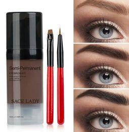 Black Brow Gel Australia - DHL FREE Henna Eyebrow Pomade Gel 6Color Waterproof Enhancer Tint Makeup Tattoo Brown Black Eye Brow Corrector Cream With Best Brush Kit