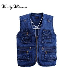 Wholesale mens hip hop vests online – oversize 2018 New Mens Denim Vest Male Tank Top Washed Jeans Waistcoat Man Cowboy Brand Hip Hop Sleeveless Multi Pocket Jacket XL