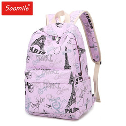 Discount eiffel tower canvas prints Printing Backpacks 2018 NEW Eiffel Tower Cartoon Flower Casual Woman School Bags Canvas Schoolbags for Teenage Students