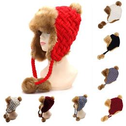 b7c155106c6 Women Trapper Hats Winter Warm Faux Fox Fur Bomber Hat Beanies Russian  Ushanka Wool Knit Pom Pom Earflaps Caps