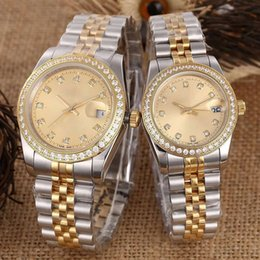 Out digital online shopping - Luxury brand mens women lover watches fashion designer diamond iced out automatic mechanical couple Wristwatches SS band