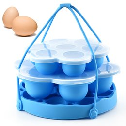 steamers vegetables Australia - Kitchen Silicone Egg Steamer Multi Functions Removable Portable Vegetable Steamers Multipurpose Blue Heat Insulation Pad New Arrival 15cs L1
