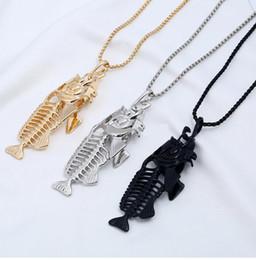 Bone Rhinestone Pendant Australia - Charms Fish Bone & Fishing Hook Pendant Necklaces Shellhard Stainless Steel Hollow Fish Skeleton Bone Necklace Fashion Jewelry 4 Colors