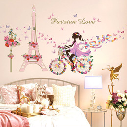 fairy stickers for girls bedroom Australia - New Simple Romantic Flower Fairy Bicycle Tower Girl Wall Sticker Bedroom Living Room Cafe Decoration Wall Sticker