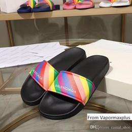 Women dog dress online shopping - Designer Mens Luxury Slipper Rainbow PU Leather Dress Slippers Women Brand Flip Flops Casual Sandal With dust bag