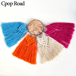 Feather chandeliers online shopping - Cpop Elegant Fashion Handmade Weave Macrame Earring Wedding Jewelry Ethnic Feather Fringe Tassel Earrings Hot Bridesmaid Gift Girl Customize
