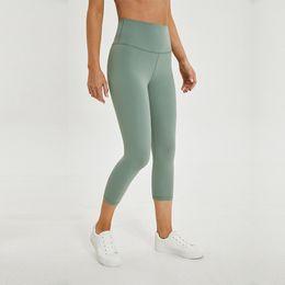 $enCountryForm.capitalKeyWord Australia - 2.0 Versions Naked-Feels Plain Athletic Fitness Capri Pants Women Soft Nylon Gym Yoga Sport Workout Leggings Cropped Trousers