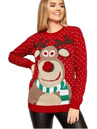 Wholesale ugly sweaters resale online – Sweater Elk Printed Knitted Spring Winter Long Sleeved Christmas Sweaters Women Ugly Xmas