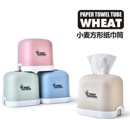 $enCountryForm.capitalKeyWord NZ - Wheat Square Tissue Box A Living Room Plastic Paper Canister Desktop Household Roll Of Paper Accept Canister Toilet Restroom Take Carton