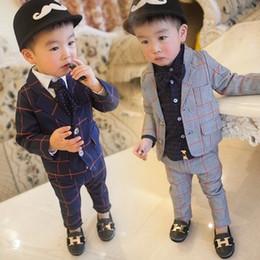Wholesale pant coat gentleman resale online - Baby Toddler Boys Gentleman Suits Handsome Formal Spring Autumn Boy Clothes Coat Pant Kids Suits Year Children Costume
