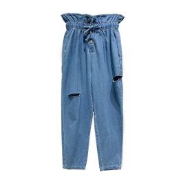 4b5876ea8f1 Summer new chic Bud blue jeans Women Korean high waist strap broken jeans  Female nine points Harlan Pants womens clothes