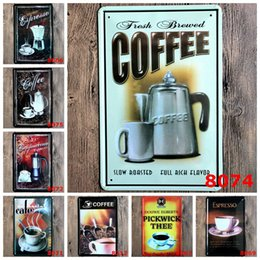 pub cafe bar wall decoration UK - Coffee Metal tin Sign Kitchen Bathroom Bar Pub Cafe Home restaurant indoor wall Decor Vintage Retro metal painting FFA3510