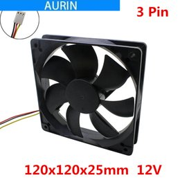 Discount 12v radiator fan 120x120x25mm 12cm Computer Fan Cooling DC 12V Mainframe-box Brushless 12cm Fan Cooler Radiator