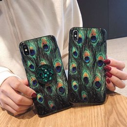 Feather galaxy online shopping - Peacock Feather Pattern Phone Case With Kickstand For Iphone X XR XS MAX Luxury Case For Iphone Plus