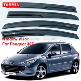 venda por atacado tommia Para Peugeot 307 4pcs Janela Visor Sombra ventilação Vento Chuva defletor Guards Tampa