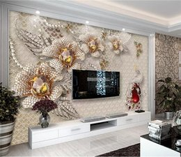 glitter flock wallpaper NZ - 3d papel parede Crystal Peacock Flower Glitter Wallpaper mural 3d photo wallpaper 3d wall Mural for Wedding Room home decor