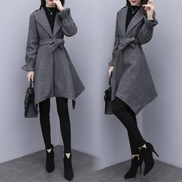 $enCountryForm.capitalKeyWord NZ - YICIYA Women wool coat plus size 3xl 4xl 5xl large jacket oversize outerwear bodycon slim winter clothes gray cardigan elegant