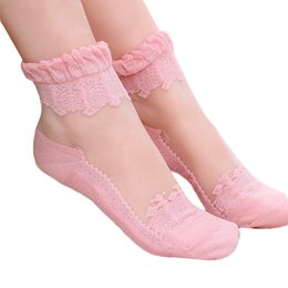 Beautiful Girls Socks Australia - Hot sales Colorful Ultrathin Transparent Beautiful Crystal Lace Elastic Short Women Socks Pink Sock for Women lace sock 30pairs 60pcs