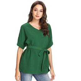 Women V Neckline Self Tie T Shirt Summer Short Sleeve Solid Color T-Shirt  Elegant Office Work Wear Tee Shirt Ladies Tops PT 9be2adc82d92