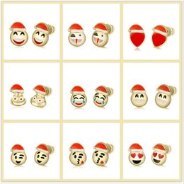 funny stud earrings NZ - Wholesale Hot Sell Expressions Emotion Emoji stud earrings Funny Face Stud Christmas Red Hat smile Emoji Earrings