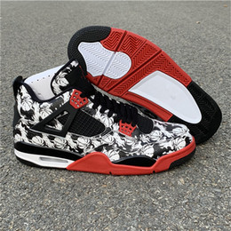 eec840264e08 High Quality Designer Men s Basketball Shoes 4 4s Tattoo Black White  Graffiti Chinese ink Painting Men Sports Shoes Sneakers US Size 7-13