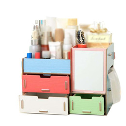 $enCountryForm.capitalKeyWord Australia - Cosmetic Storage Box with Makeup Mirror Multi-drawer Jewelry Container Diy Assembly Wooden Multifunction Cosmetics Organizer