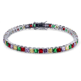 tennis jewelry for women NZ - 18K Gold Plated Hip Hop Multicolor CZ Zircon Tennis Chain Bracelet for Men and Women Single Row Diamond Chains Rapper Jewelry Gift Wholesale
