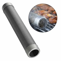 $enCountryForm.capitalKeyWord Australia - BBQ Stainless Steel Accessories Meshes Round Sqaure Perforated Mesh Smoker Tube Barbecue Grill Generator Smoker Filter Tool