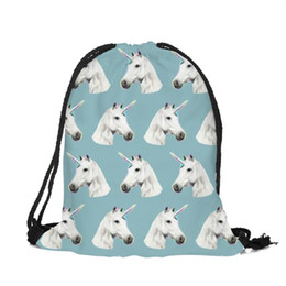 $enCountryForm.capitalKeyWord NZ - 39x30cm Harajuku Cute Cloth Drawstring Bags Canvas Blue Horse Kawaii Storage Bags Backpack 3d Printed Womens Gift Bag