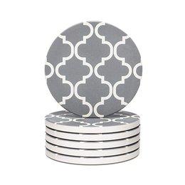 $enCountryForm.capitalKeyWord Australia - 6pcs Drinks Ceramic Anti Slip Dinnerware Geometric Pattern Portable Party Gifts Kitchen Coaster Set Cup Pad Home Decoration