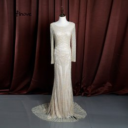 $enCountryForm.capitalKeyWord NZ - Finove Mermaid Evening Dresses 2019 New Luxury Champagne Long Sleeves O-Neck Full Beading Pearls Prom Party Gowns Robe De Soiree #15045