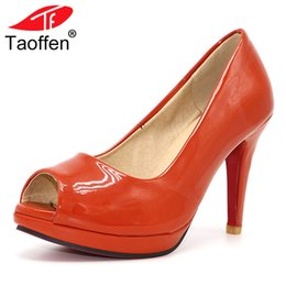 Woman shoes size 31 online shopping - Shoes TAOFFEN news high heel peep toe women dress footwear patent leather sexy pumps P3141 hot sale size